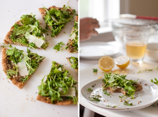 basil pesto and arugula pizza