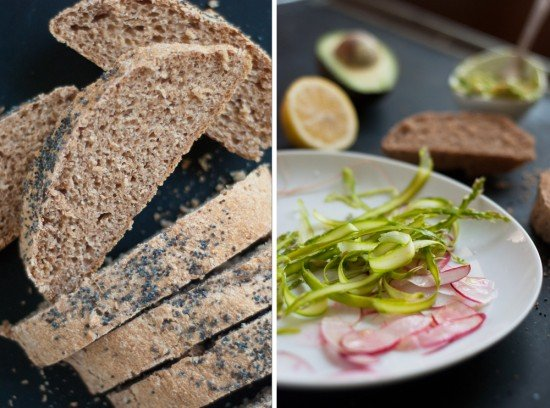 bread and shaved asparagus