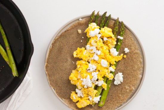 asparagus and goat cheese on a buckwheat crepe