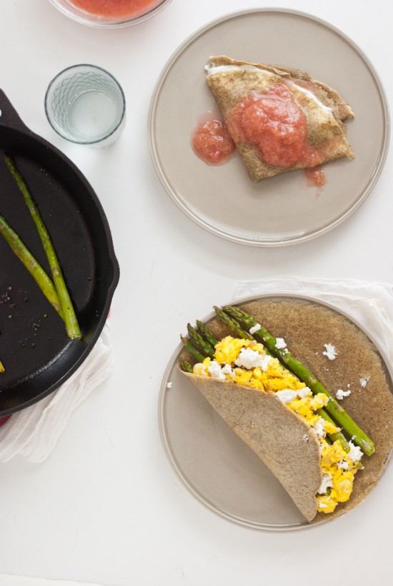 asparagus and goat cheese crepe