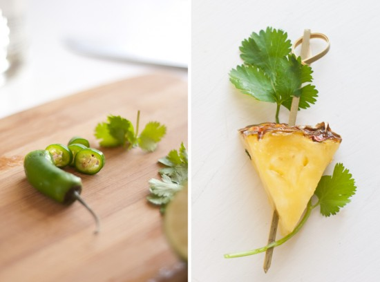 cilantro and pineapple garnish