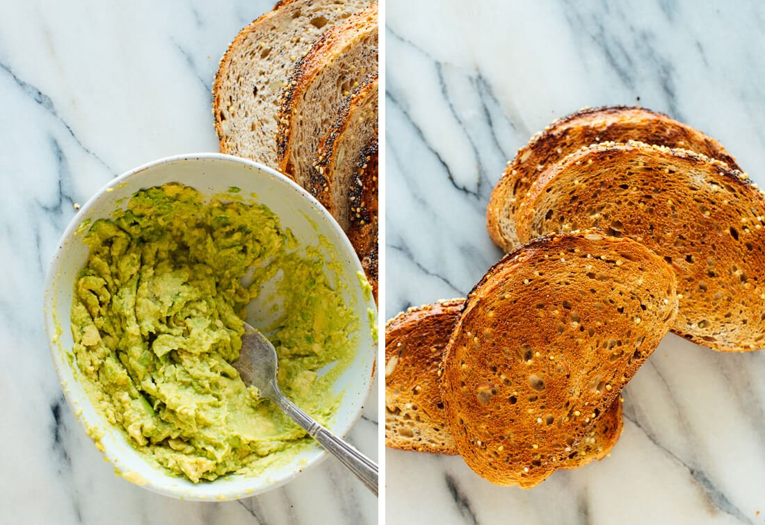 mashed avocado and toast
