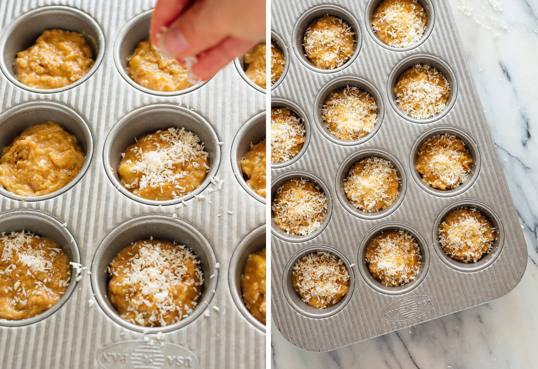 sprinkling coconut over banana muffins