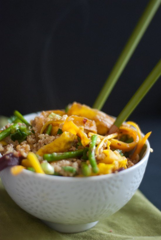 stir-fried millet with asparagus, egg and carrots