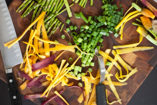 carrot ribbons, asparagus and green onions