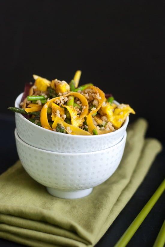 stir-fried millet with egg and vegetables