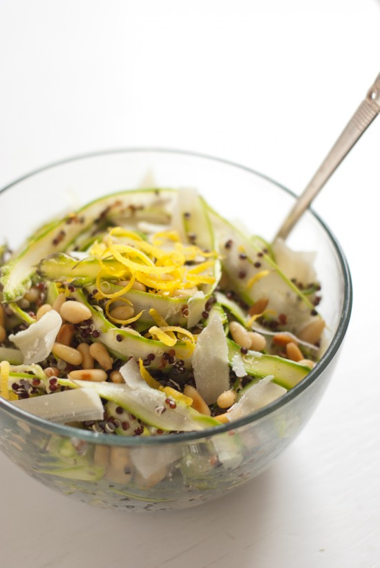 ribboned asparagus and quinoa salad