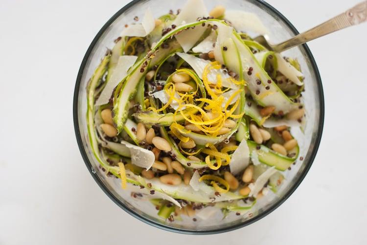 asparagus quinoa salad with lemon and parmesan