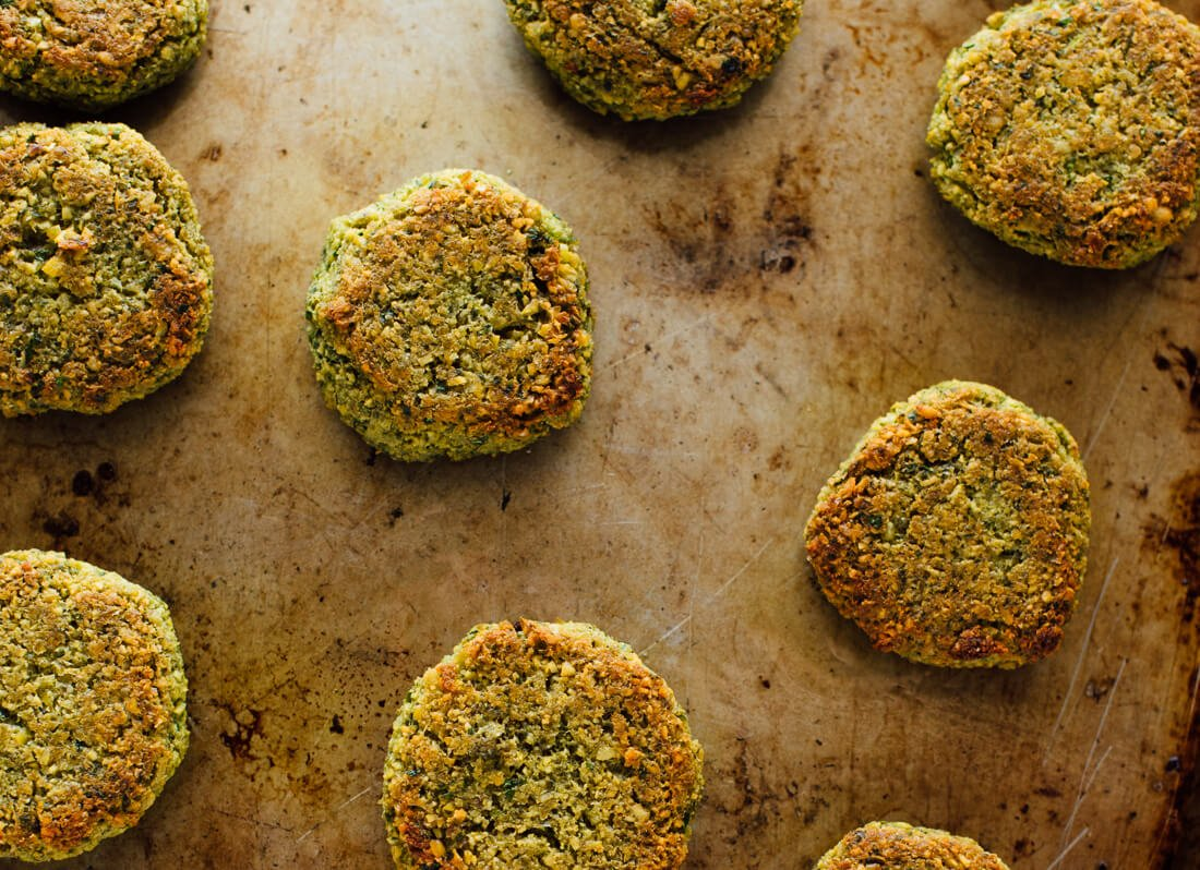 baked falafel out of oven