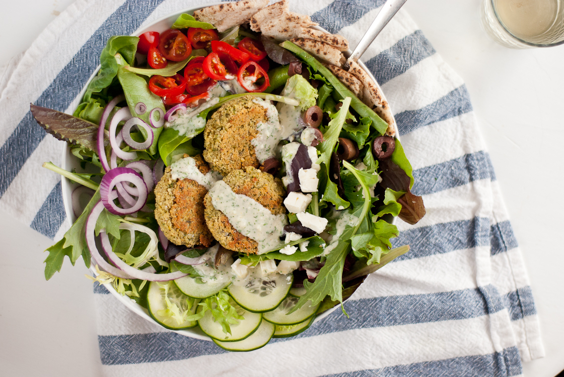 Baked falafel salad with tahini dill dressing from cookieandkate.com