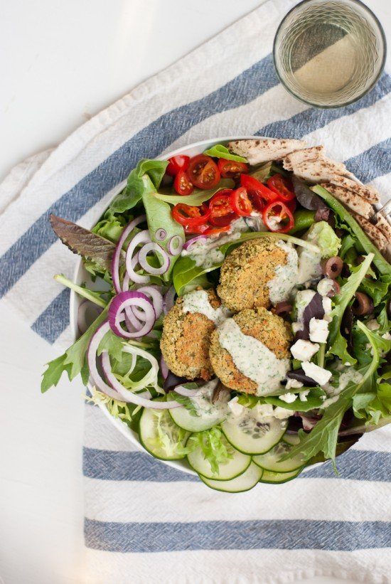 Greek salad with baked falafel by Cookie and Kate