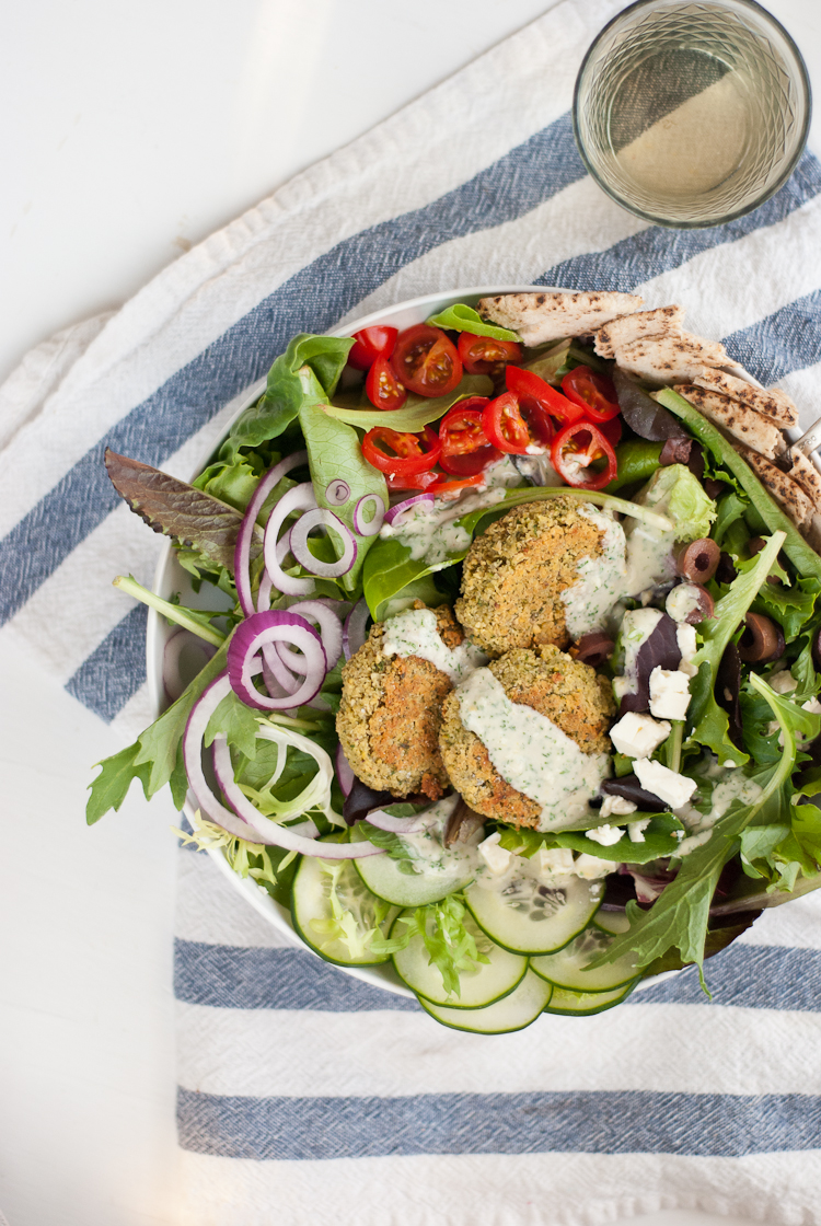 Greek salad with baked falafel from cookieandkate.com