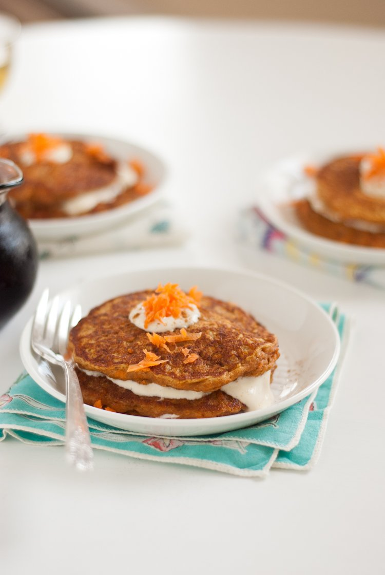 Carrot cake pancakes with maple cream cheese topping by Cookie and ...