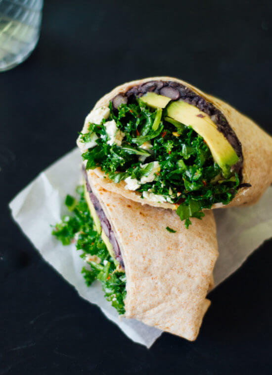 Simple kale and black bean burritos from cookieandkate.com