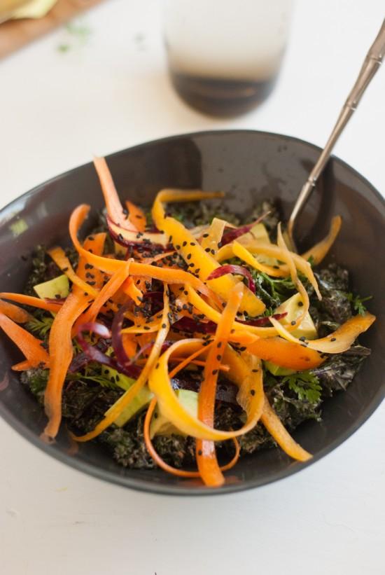 raw kale salad with tahini creamy tahini dressing