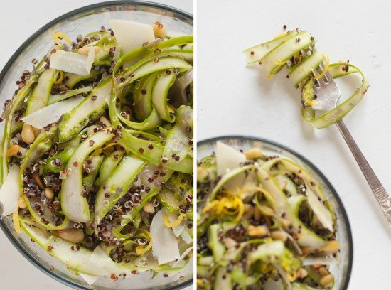 shaved asparagus, quinoa and pine nut salad