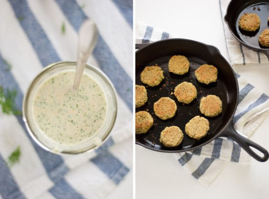 creamy dill-tahini dressing and baked falafel