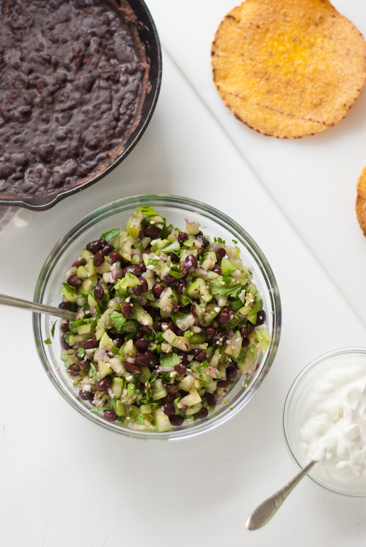 Baked Tostadas with Tomatillo Black Bean Salsa