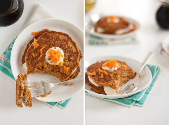 whole wheat carrot cake pancake recipe by Cookie and Kate