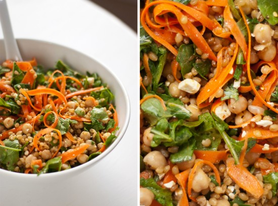 Salad with arugula, carrot, chickpea, feta and wheat berries