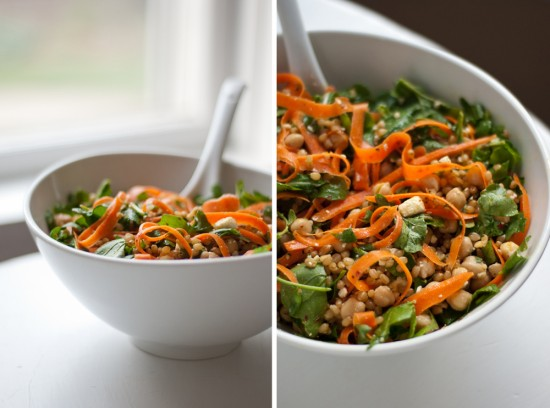 Arugula, carrot and chickpea salad with wheat berries