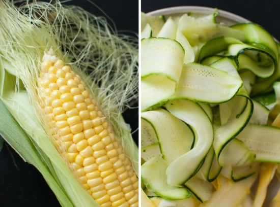 corn on the cob and ribboned squash