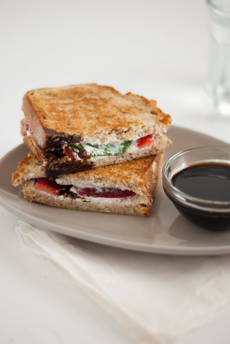 Strawberry, basil and goat cheese panini by Cookie and Kate