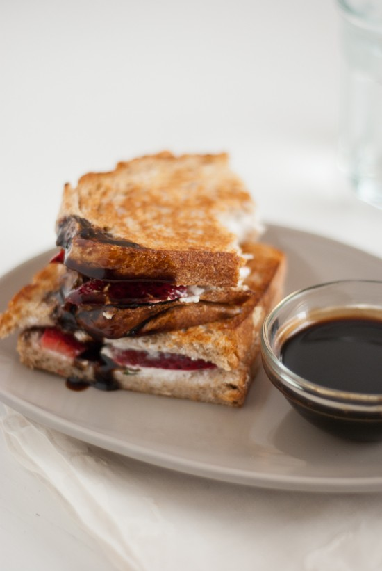 balsamic honey sauce on strawberry panini