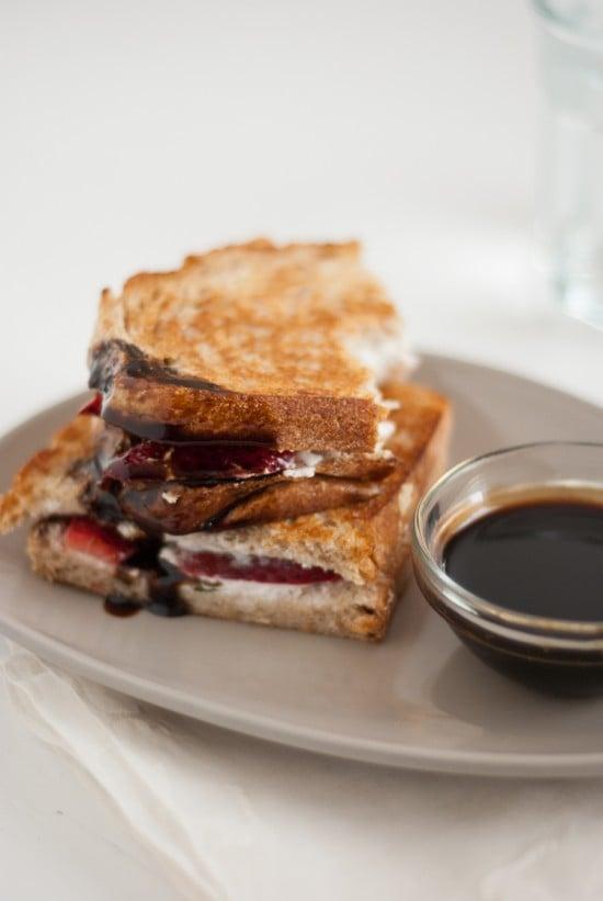 balsamic honey sauce on strawberry panini