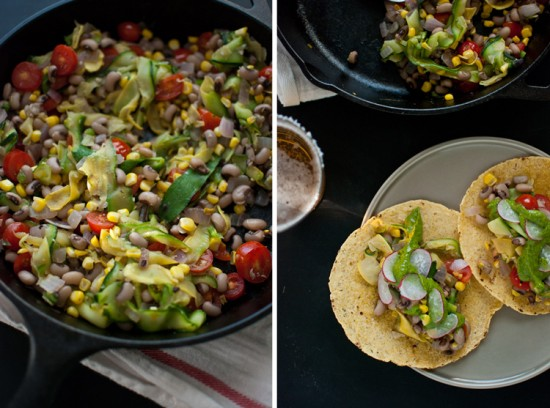 tacos with summer squash, corn and cherry tomatoes