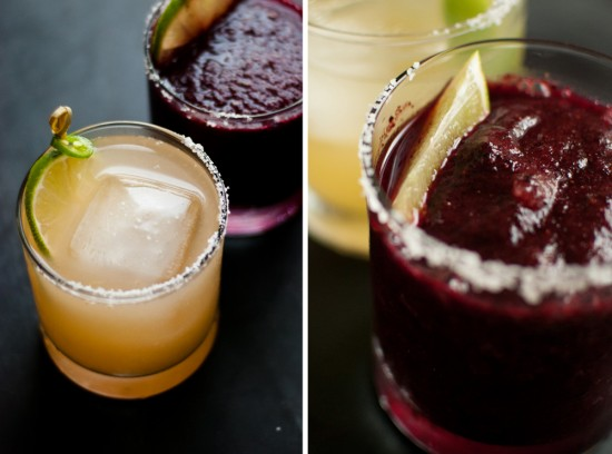 grapefruit margarita and blueberry margarita