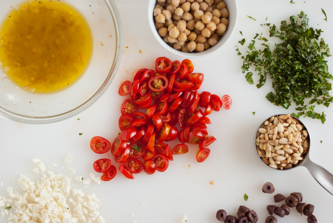 Mediterranean Pasta Salad with Raw Squash and Feta