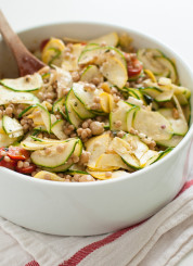Mediterranean Pasta Salad with Raw Squash and Feta
