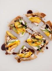 peach, basil and ricotta flatbread