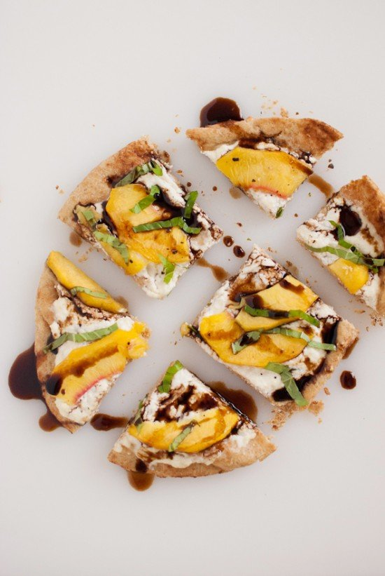 Simple Peach, Basil and Ricotta Flatbread - Cookie and Kate