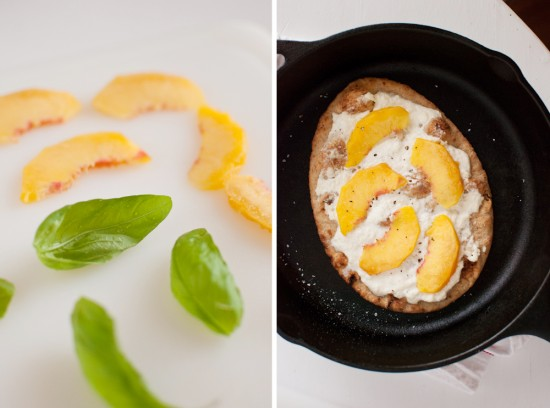 peach, basil and ricotta flatbread ingredients