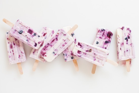 Roasted berry and honey yogurt popsicles