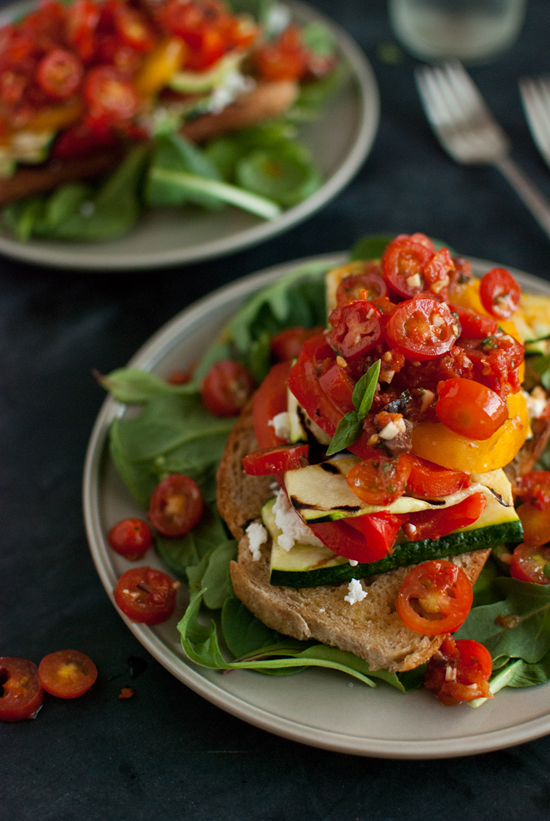 Stacked Tomato, Summer Vegetable and Grilled Bread Salad - Cookie and ...