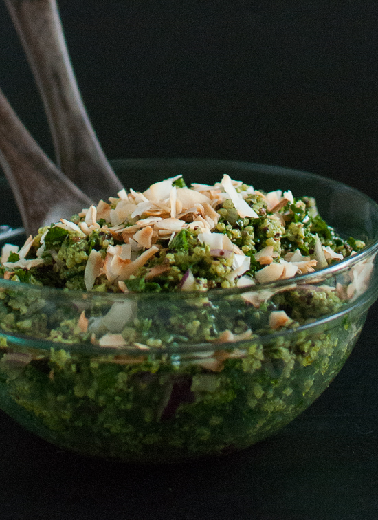 Coconut Quinoa and Kale with Tropical Pesto - cookieandkate.com