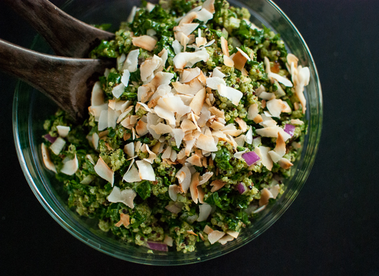 Vegan and gluten-free coconut quinoa and kale with tropical pesto - cookieandkate.com