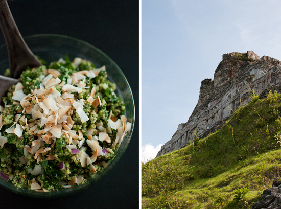 kale coconut salad and Mayan ruins (Xunantunich)