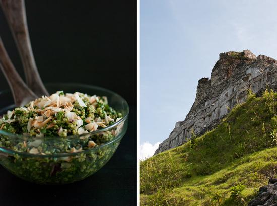 kale coconut salad and Mayan ruins (Xunantunich)