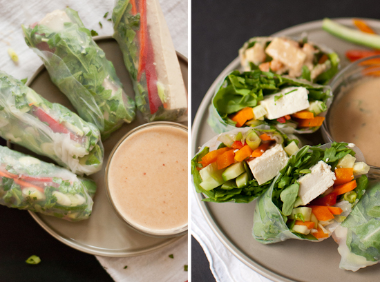 Vegetarian Summer Rolls with Spicy Peanut Dipping Sauce