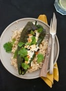 Beer bean stuffed poblano peppers with feta