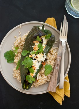 Beer Bean-Stuffed Poblano Peppers