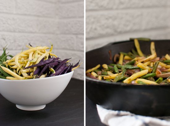 blackened green beans and yellow wax beans