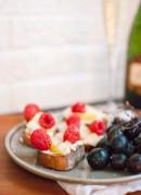 Pear, Raspberry and Goat Cheese Crostini