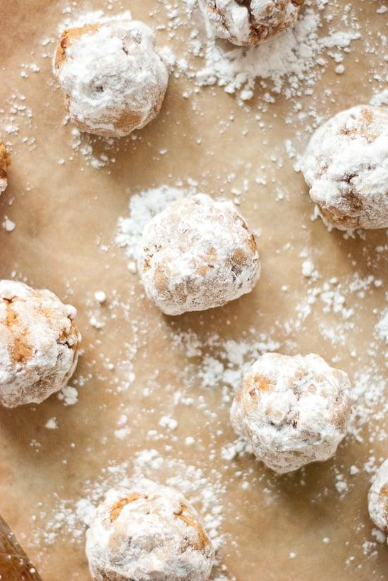 Pumpkin pecan polvorone cookies rolled in powdered sugar