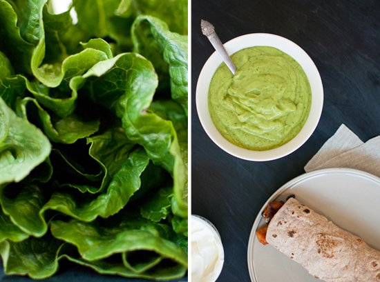 romaine lettuce and avocado sauce