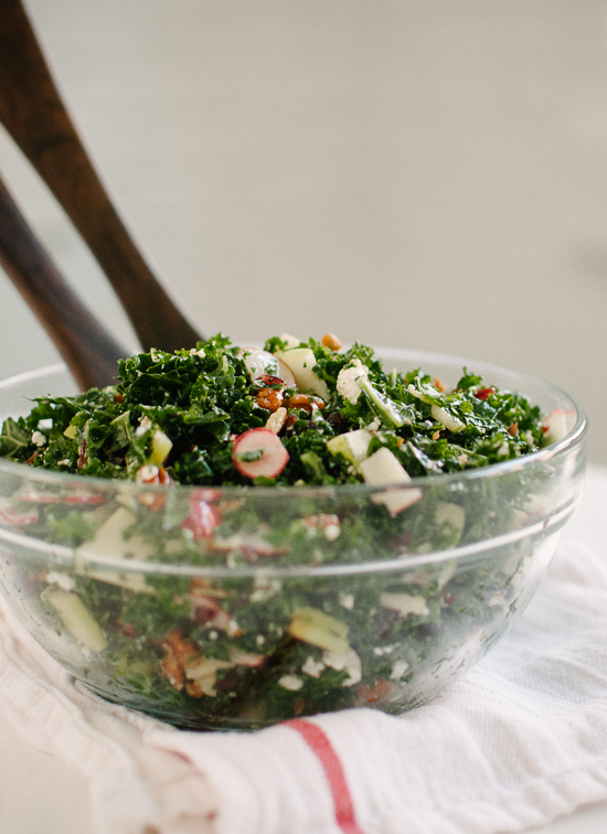 Fresh kale salad with sliced apples, dried cranberries and pecans in a zippy honey-mustard dressing - cookieandkate.com